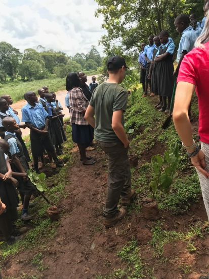 Mass tree planting in 2018 with Kipsaina Schools and BCS - Director of Education in attendance