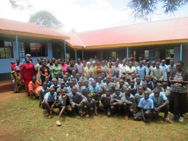 Gathering in front of the new classroom block